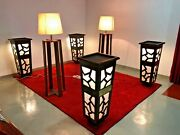 Vip Funeral Furniture   New   4 Light Flower Vases And 2 Lamps   Mahogany