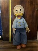 Antique Donald Duck Rubber Walker Doll 2 Ft Tall Vintage Disney Toy