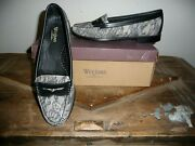 Gh Bass Weejuns Virginia Leather Lace Print Loafer Flat Shoe Black 9.5m New