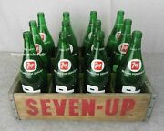 Vintage 1970s Seven Up Soda Green Glass Quart Bottles And Wood Advertising Crate