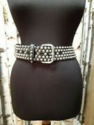 Jimmy Choo Womans Black Real Leather Studded Belt Size M