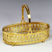 Antique Early 20thc Art Deco French Crystal Glass Cut Bowl In Gilt Bronze Basket
