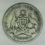 1915 Australia Florin Very Nice Looking Coin, Includes Free Shipping In Us