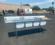 New 108 Stainless Steel Sink 3 Compartment Commercial Kitchen W/ Faucets Nsf