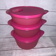 3 New Tupperware Crystalwave Vent Top Bowls Containers 2642 2641 2640 Pink