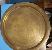 Antique Middle Eastern Brass Serving Tray Large Size Metal. Islamic Design. Nice