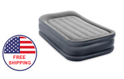 Inflatable Air Bed Mattress Twin Size Built-in Electric Air Pump And Pillow Gray