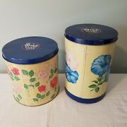 Antique Wise Potato Chips Tins 1951 1954 Berwick Pa Flowers Roses Morning Glory