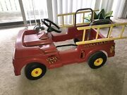 Vintage 1960's Amf Firefighter Unit No. 507 Pedal Car Fire Truck W/ Ladders Ford