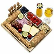 Bamboo Cheese Board Set With Cheese Knife Vertical Knife Holder Ceramic Bowl ...