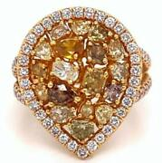 2.61ct Multi Color Diamond 18kt Rose Gold 3d Cluster Pear Shape Halo Fun Ring