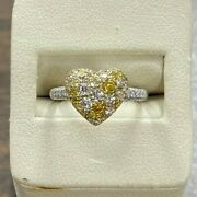 Nwot 14kt Yellow Gold Multi Color Natural Diamond 0.90 Ctw Heart Cluster Ring