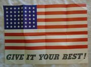 Original Vintage Give It Your Best American Flag Propaganda Poster Ww2 - 1942