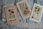 2 Tableaux 1920and039 Embroidered Birthday Card French Hand Embroidered Old Postcard