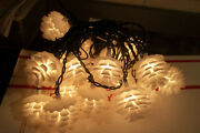 Warm White String Lighted Garland 19 Pine Cones Lights Christmas Novelity