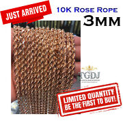 10k Rose Gold 3mm Solid Diamond Cut Rope Link Chain Necklace 18-24 Inch