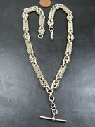 Antique Sterling Silver Fancy Link Watch Chain Necklace C.1880 18inch