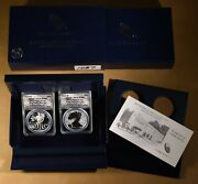 2013 American Eagle Silver Dollar 2-coin Set Anacs Rp70dcam And Eu70dcam With Ogp