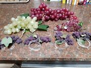 Set Of 3 Artificial Grape Clusters And 4 Grape Cluster Napking Ring Holdeers