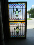 Antique Stained Glass Windows Top And Bottom Set Architectural Salvage