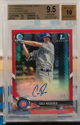 Cole Roederer 2018 Bowman Chrome Draft Red Refractor Rc Auto D 3/5 Bgs 9.5/10