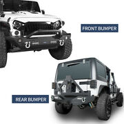 For Jeep Wrangler Jk 2007-2018 Front + Rear Bumper W/ Winch Plate And Tire Carrier