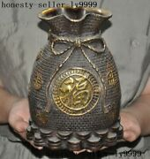 8old Chinese Bronze Gilt Wealth Coin Money Coins Purse Lucky Bag Statue