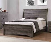 1pc Master Bedroom Gray Finish Queen Size Sleigh Curve Bed Wooden Furniture