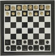 Black Marble Indoor Chess Set Game Collectible Handmade Christmas Gift For Her