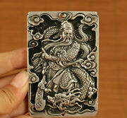Old Tibet Silver Hand Casting Guan Gong Dragon Statue Netsuke Pendant Necklace