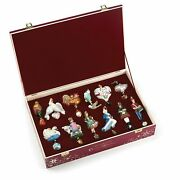 Reed And Barton Twelve Days Of Christmas Glass Ornament Set 12 Wooden Chest New