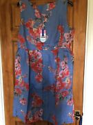 Joules Linen Dress, Dize 20. Lisia Blue Floral. New With Tags