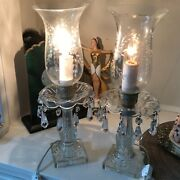 Vtg Victorian Glass Cut Crystal Lamps/set Crystals Newly Re-wired