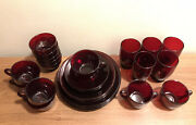 32 Count Anchor Hocking Ruby Red Depression Glass Dishes 5 Dinner Place Settings