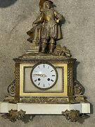 Antique French Bronze/marblesculpted Mantle Clock C.1875. 20x15x6 Signed.26 Lbs
