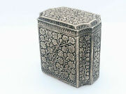 Antique Indian Raj Tea Caddy In Sterling Silver And Vermeil Kashmir Late Xix