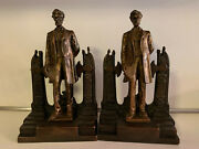 Antique Abraham Lincoln Patriotic Bookends Pompeian Bronze Clad, George Bissell