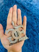 14k Gold Finish God Over Everything Simulated Diamond Pendant W/ Rope Chain