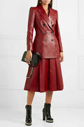 6570 Alexander Mcqueen Pleated Leather Red Midi Skirt Fr 38 Us 8 It 42 Uk 12