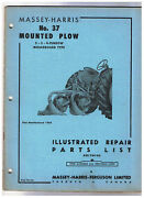 Massey Harris No 37 Mounted Plow Illustrated Repair Parts List