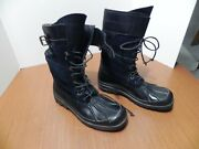 Mens Combat Boots Black With Black Watch Plaid Wool Size 9.5 D