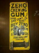 Early 1900s Zeno Chewing Gum Yellow Porcelain Vending Machine Case Only