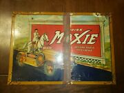 Vintage Original 1933 Rare Drink Moxie Tin Over Cardboard Sign With Horse And Carandnbsp