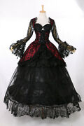 H-3402 Victorian Gothic Black Lace Red Evening Gown Costume Cosplay