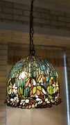Style Large Water Lily Hanging Stain Glass Ceiling Or Swag Lamp
