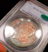 1903-p Pcgs Ms64 Cac Better Date Obverse Rainbow Toned Color Morgan Eye Appeal