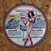 Vintage 1954 Conoco 'double Duty' Super Motor Oil Porcelain Gas And Oil Metal Sign