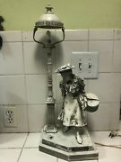 Vintage Monreau Spelter,. Table Night Light Or Lamp With Old Woman Figure