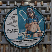 Vintage 1957 The Chicago Screw Company Porcelain Gas And Oil Sign