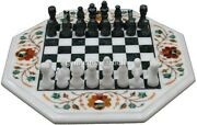 Marble Chess Set Carnelian Floral Marquetery Design With Chess Pieces Gift Him